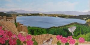 terrazza sul lago - Olio su tela cm 60x120